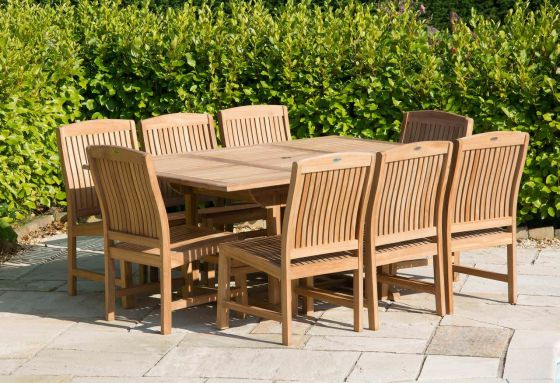 1m x 1.8m - 2.4m Teak Rectangular Extending Table with 8 Marley Chairs - With or Without Arms
