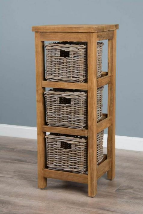 Reclaimed Teak Storage Unit with 3 Natural Wicker Baskets