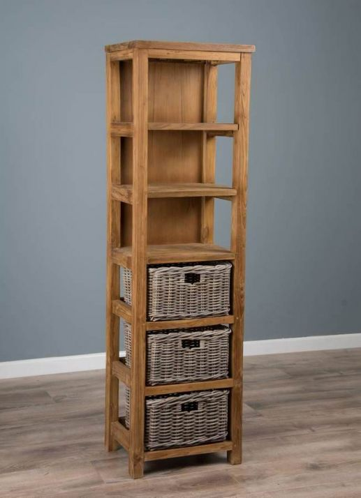 Reclaimed Teak Storage Unit with 3 Shelves plus 3 Natural Wicker Basket