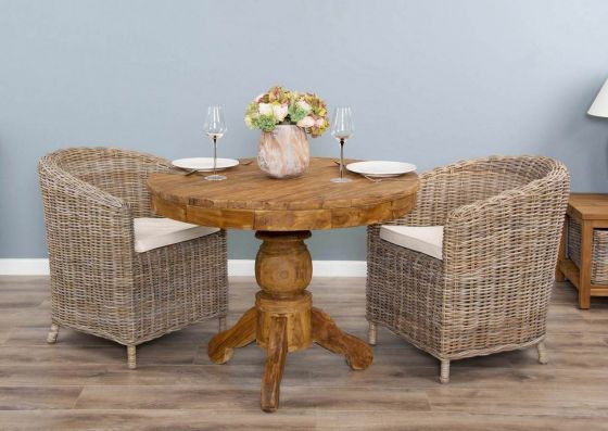 1m Reclaimed Teak Circular Pedestal Dining Table with 2 Riva Tub Dining Chairs