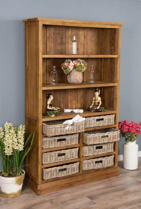 Rustic Reclaimed Teak Bookcase with Kubu baskets
