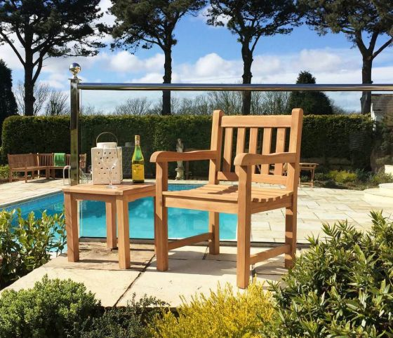Traditional Teak Garden Armchair with Coffee Table