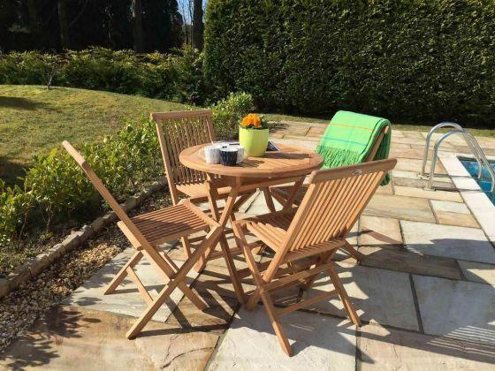 80cm Teak Circular Folding Table with 4 Classic Folding Chairs