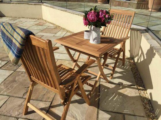 70cm Teak Square Folding Table