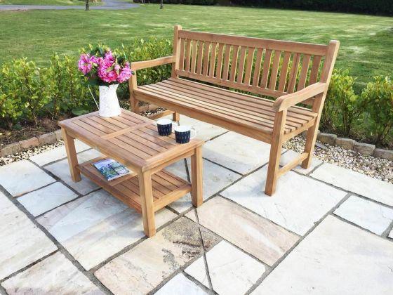 Single Richmond Teak Bench with Teak Coffee Table Set