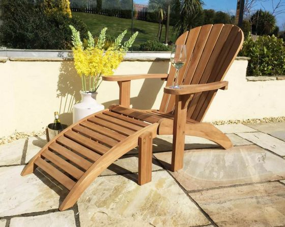 Teak Adirondack Chair with Foot Stool