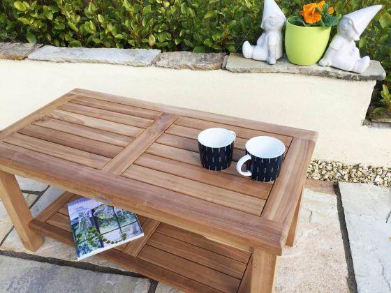 Teak Rectangular Coffee Table with Shelf
