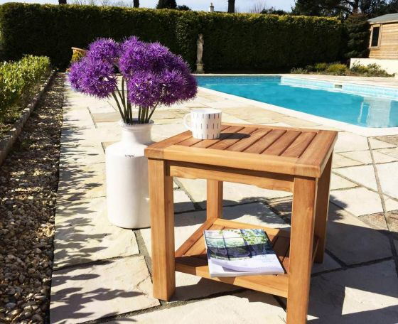 Teak Square Coffee Table Square with Shelf