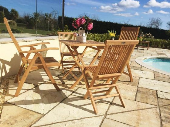 70cm Teak Square Folding Table with 2 Classic Folding Chairs and 2 Harrogate Recliners