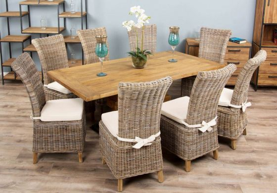 2m Reclaimed Teak Urban Fusion Pedestal Dining Table with Eight Latifa Dining Chairs