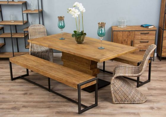 2m Reclaimed Teak Urban Fusion Pedestal Dining Table with Two Backless Benches and Two Zorro Chairs