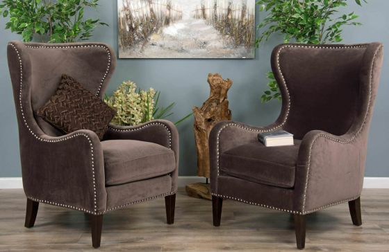 2 Velveteen Sofa Chairs - Stone