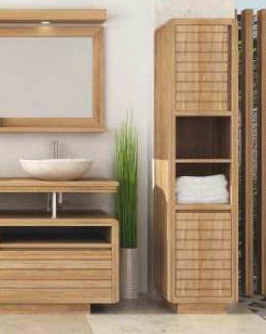 Vogue Teak Tall Bathroom Cabinet