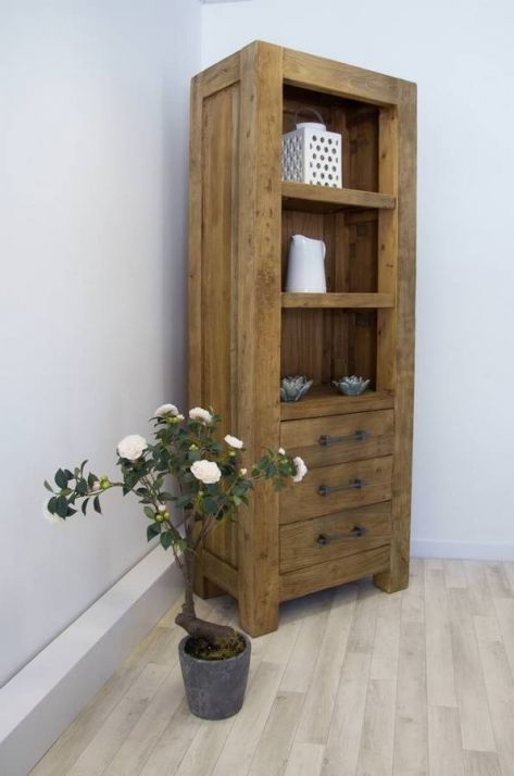 Reclaimed Elm Tall Display Cabinet