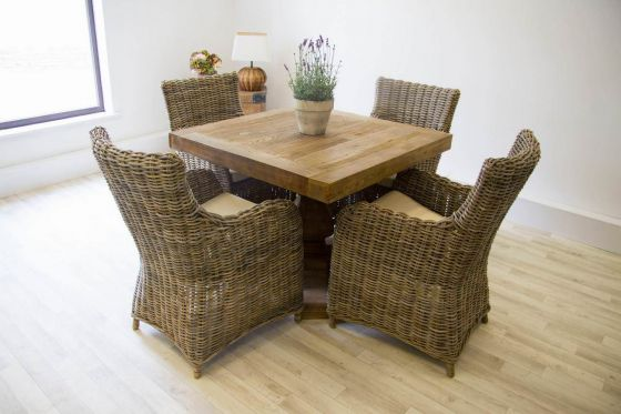 1m Reclaimed Elm Square Pedestal Dining Table with 4 Donna Armchairs
