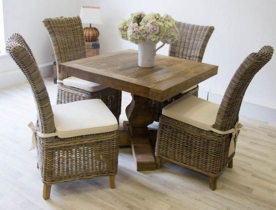 1m Reclaimed Elm Square Pedestal Dining Table with 4 Latifa Chairs