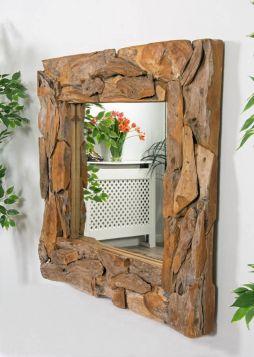 Reclaimed Teak Root Piece Square Mirror - 4 Sizes