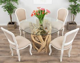 1.2m Java Root Circular Dining Table with 4 or 6 Paloma Chairs