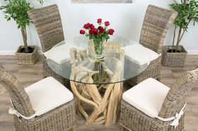 1.2m Java Root Circular Dining Table with 4 or 6 Latifa Chairs