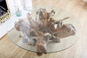 Round top teak root coffee table