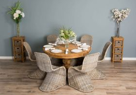 1.2m Reclaimed Teak Circular Pedestal Dining Table with 6 Stackable Zorro Chairs