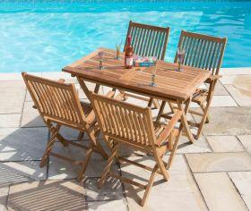 1.2m Teak Rectangular Folding Table with 4 Kiffa Folding Armchairs