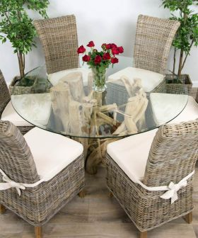 1.5m Java Root Circular Dining Table with 6 Latifa Chairs