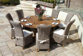 1.8m Dartmouth Reclaimed Teak Circular Garden Table with 8 Latifa Chairs
