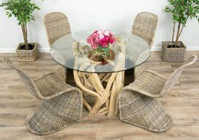 1.2m Java Root Circular Dining Table with 4 or 6 Stackable Zorro Chairs