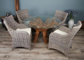 1.2m Reclaimed Teak Root Circular Dining Table with 4 Donna Armchairs