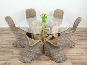 1.5m Java Root Circular Dining Table with 6 Stackable Zorro Chairs