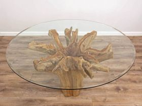 1.5m Reclaimed Teak Flute Root Circular Dining Table