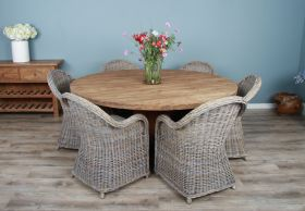 1.8m Reclaimed Teak Circular Character Dining Table with 6 Riviera Chairs