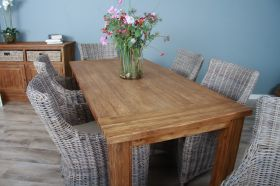 2m Reclaimed Teak Taplock Dining Table with 6 Donna Chairs