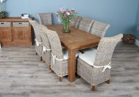 1.8m Reclaimed Teak Taplock Dining Table with 6 or 8 Latifa Chairs