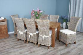 2m Reclaimed Teak Taplock Dining Table with 8 Latifa Chairs