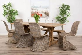 2m Reclaimed Teak Dinklik Table with One Bench and Five Stacking Zorro Dining Chairs