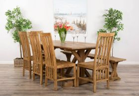 2m Reclaimed Teak Dinklik Table with One Bench and Five Teak Santos Dining Chairs