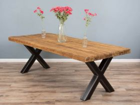 2.2m Reclaimed Teak Urban Fusion Cross Dining Table