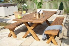 2.4m Reclaimed Teak Cross Leg Outdoor Dining Table with 2 Backless Benches
