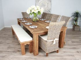 2.4m Reclaimed Teak Taplock Dining Table with Dining Bench and 6 Latifa Chairs
