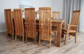 2.4m Reclaimed Teak Taplock Dining Table with 10 Vikka Chairs