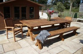 3m Reclaimed Teak Cross Leg Outdoor Dining Table with 2 Backless Benches and 2 Marley Armchairs