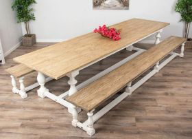3.6m Reclaimed Pine Ellena Dining Table with Two Backless Benches