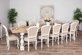 3.6m Reclaimed Pine Ellena Dining Table with 12 Paloma Dining Chairs