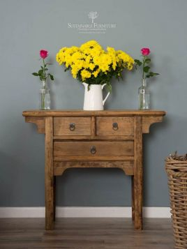 Reclaimed Elm Console Table - 3 Drawer