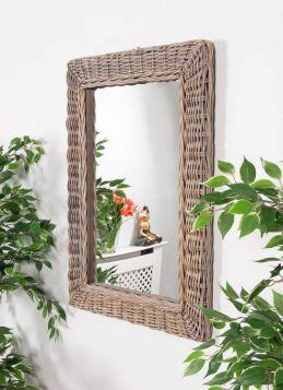 Natural Kubu Wicker Mirror Rectangular