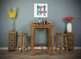 90cm Square Reclaimed Teak Bar Table with 2 or 4 Teak Bar Stools