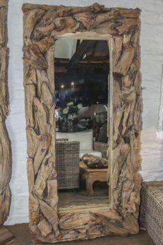 Reclaimed Teak Root Piece Rectangular Mirror - 2 Sizes