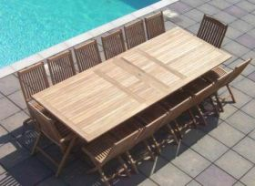 1.2m x 2.4m - 3.2m Teak Rectangular Double Extending Table with 12 Kiffa Folding Chairs and 2 Kiffa Folding Armchairs
